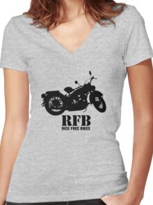Rice Free Bikes Women's Fitted V-Neck T-Shirt