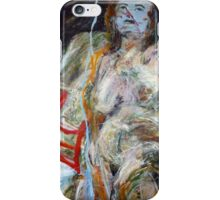 Woman with red chairs iPhone Case/Skin