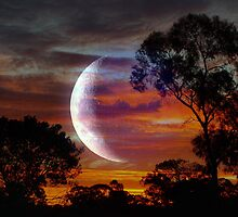 New Moon Sunset by Clive