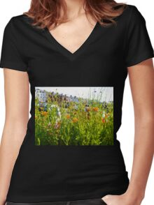A Pretty Screen............Sidmouth, Devon UK Women's Fitted V-Neck T-Shirt