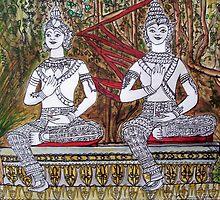 Vientiane Garden Laos by Angela Gannicott