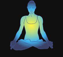 illustration beautiful woman doing yoga meditation Womens Fitted T-Shirt