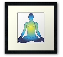 illustration beautiful woman doing yoga meditation Framed Print