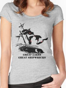 Great Lakes, Great Shipwrecks - Black Women's Fitted Scoop T-Shirt