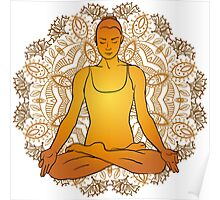 beautiful woman doing yoga meditation Poster