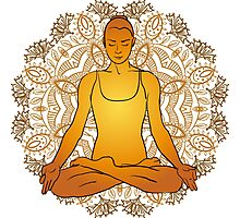 beautiful woman doing yoga meditation Photographic Print