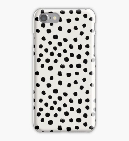 Preppy brushstroke free polka dots black and white spots dots dalmation animal spots design minimal iPhone Case/Skin
