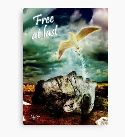 Free At Last (With Text) Canvas Print