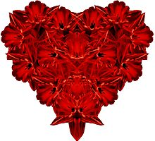 Red Heart of Flowers Photographic Print