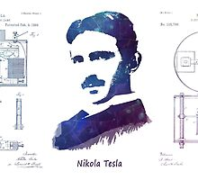 Nikola Tesla Patent Art Electric Arc Lamp by JBJart