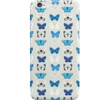Lepitoptery No. 2 - Blue and White Butterflies and Moths iPhone Case/Skin