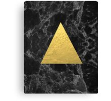 Black Gold Marble Tri - dark solid classic gold foil on marble cell phone case for college dorm  Canvas Print