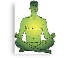 illustration man sitting in the lotus position doing yoga meditation Canvas Print