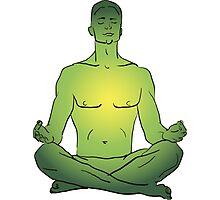 illustration man sitting in the lotus position doing yoga meditation Photographic Print
