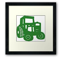 Green Tractor Graphic Framed Print