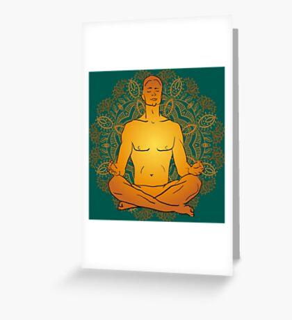 illustration man sitting in the lotus position doing yoga meditation Greeting Card