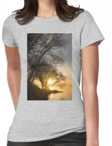 Early Gold Through the Willow Branches - A Sunrise on the Shore of Lake Ontario Womens Fitted T-Shirt