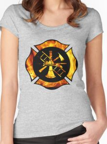 Flaming Maltese Cross Women's Fitted Scoop T-Shirt