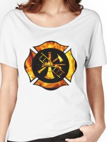 Flaming Maltese Cross Women's Relaxed Fit T-Shirt