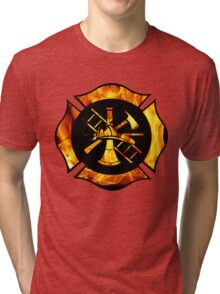 Flaming Maltese Cross Tri-blend T-Shirt