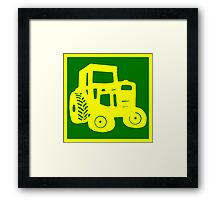 Yellow and Green Tractor Emblem Design Framed Print