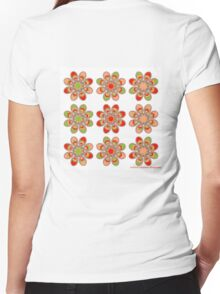 Strawberry Foot Flowers Women's Fitted V-Neck T-Shirt
