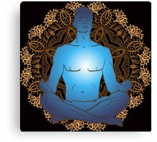 man sitting in the lotus position doing yoga meditation Canvas Print