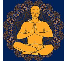 man sitting in the lotus position doing yoga meditation Photographic Print