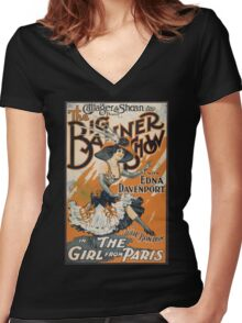 The Girl From Paris Vintage Women's Fitted V-Neck T-Shirt
