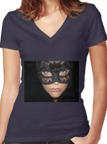 Masked Woman Women's Fitted V-Neck T-Shirt