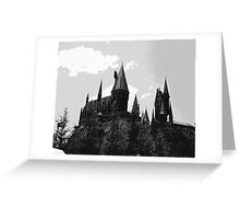 Grey-scale Hogwarts Greeting Card