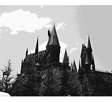 Grey-scale Hogwarts Photographic Print