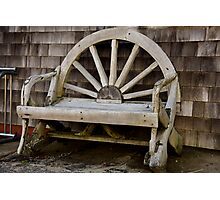 Wagon Wheel Bench Photographic Print