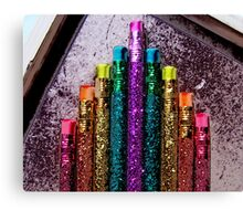 Great Poster of Bright Colorful Glittery Pencils Canvas Print
