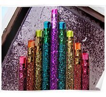 Great Poster of Bright Colorful Glittery Pencils Poster