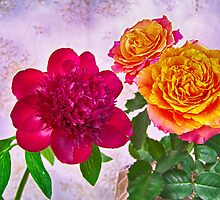 HDR Red Charm Peony And Orange Roses by daphsam
