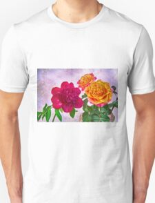 HDR Red Charm Peony And Orange Roses T-Shirt