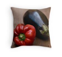 Red Bell Pepper and Eggplant Throw Pillow