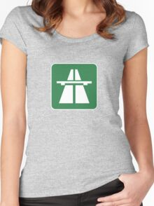 Autobahn Tee on green Women's Fitted Scoop T-Shirt