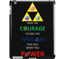 Legend of Zelda Triforce with Goddess Symbols (white text for dark tops/hoodies) iPad Case/Skin