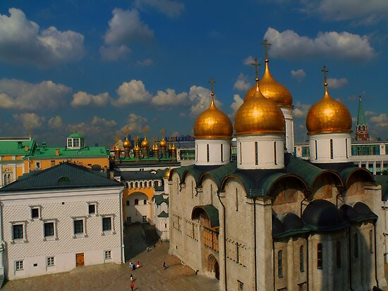 The Faceted Palace, domes of the Upper Saviour Cathedral and Cathedral of the Dormition as seen from Ivan the Great Bell Tower by Jon Ayres