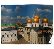 The Faceted Palace, domes of the Upper Saviour Cathedral and Cathedral of the Dormition as seen from Ivan the Great Bell Tower Poster