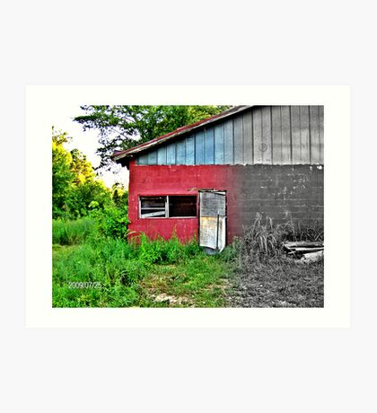 Garage by the Railroad Art Print