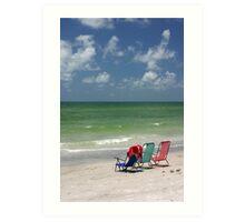 Three Chairs by the sea Art Print
