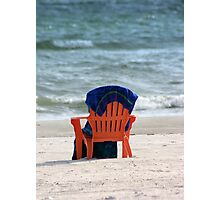 Beach chair and towel Photographic Print