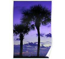 Twilight Palms Poster