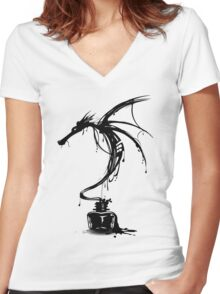Dragon Ink Women's Fitted V-Neck T-Shirt
