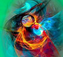 Hummingbird- Colorful Digital Abstract Art  by gp-art