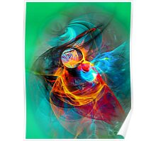 Hummingbird- Colorful Digital Abstract Art  Poster