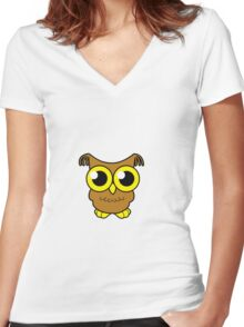 Baby Owl Women's Fitted V-Neck T-Shirt